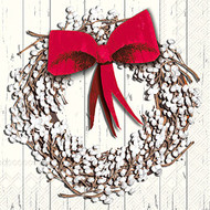 White Berry Wreath Paper Cocktail Napkin