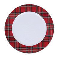 Plastic Tartan Plate Chargers - Set of 4