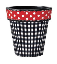 "Black Gingham with Red Dots 12"" Art Pot Planter"