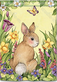 Springtime Bunny House Flag