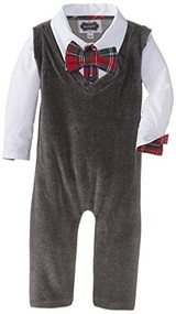 Mud Pie Baby-Boys Newborn Vest One Piece, Gray, 9-12 Months