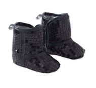 Baby Girls Black Sequin Booties