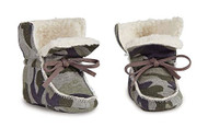 Camo Sherpa Booties - 0-6 months
