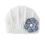 Baby Girls Handmade Knit Cream Hat with Gray Flower