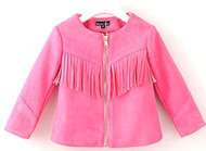 Girls Faux Suede Fringe Jacket (10, Pink)