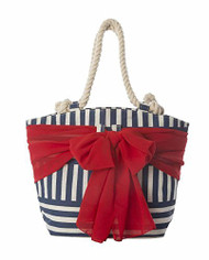 Mud Pie Sarong Along Blue Stripe Tote with Red Sarong