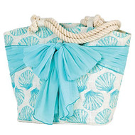 Fan Shell Light Blue Sarong Along Tote