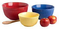 D I Primary Brights Ceramic Mixing Bowls Set of 3
