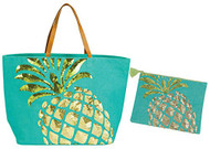 Pineapple Beach Tote with Matching Zipper Bag