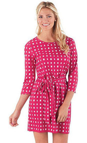Mud Pie Courtney Pink Ditzy Squares Dress (Medium)