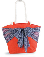 Mud Pie Sarong Along Orange Tote with Blue Umbrellas Sarong