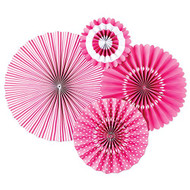 Bubble Gum Pink Paper Rosettes Party Fans