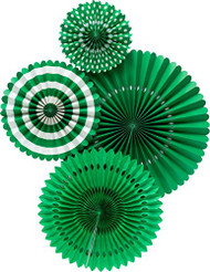 Green Paper Rosettes Party Fans