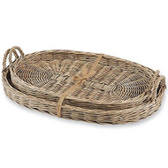Oblong Willow Basket Trays - Set of 2
