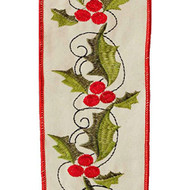 "Holly ""Embroidered"" Wired Ribbon - 4"" x 10 yds"