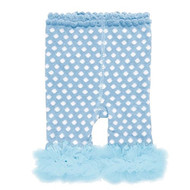 Baby Girls Leggings with Chiffon Ankle Ruffles (0-12 months, Light Blue and White Polka Dots)