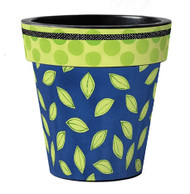"Frolic Blue with Green Leaves 15"" Art Pot Planter"