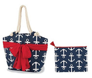 Mud Pie Beachcomber Sarong Along Anchor Tote & Zip Bag