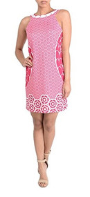 Ladies Sleeveless Pink Print Shift Dress