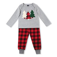 Mud Pie Tree & Buffalo Check Two Piece Pant Set (12-18 months)