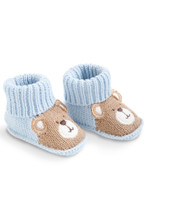 Blue and Brown Crochet Booties with Bear