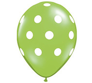 "11"" Lime & White Polka Dot Latex Balloon - Set of 6"