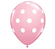 "11"" Light Pink & White Polka Dot Latex Balloon - Set of 6"