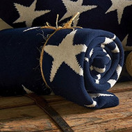 Blue with White Stars Knit Throw