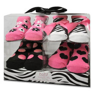 Baby Essentials Infant Girls Pink Zebra Socks - Set of 4