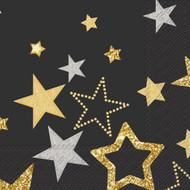 IHR Black Sparkling Stars Luncheon Paper Napkins