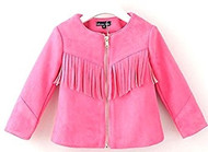 Girls Faux Suede Fringe Jacket (4, Pink)