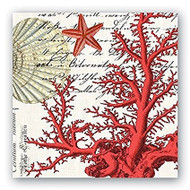 Michel Design Wporks Red Coral Luncheon Paer Napkins