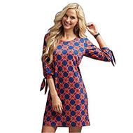 Mud Pie Anderson Navy/Red Lattice Dress - Small