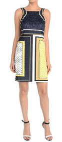 Ladies Navy & Yellow Color Block Print Shift Dress (Small)