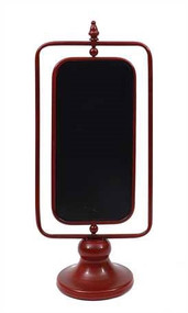 Red Metal 2-Sided Chalkboard On Stand