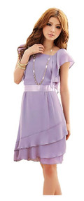 Womans Purple Ruffle Dress K8220Y - Extra Small