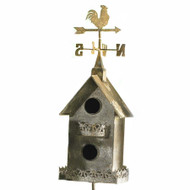 Birdhouse with Rooster Weathervane Yard Stake