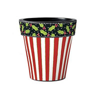 "Studio M Holly & Stripe 15"" Art Pot Planter"