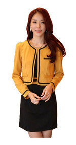 Womans Long Sleeve Black and Yellow Casual Dress with Bolero Y92324S - Medium