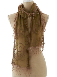 Tan Lace Scarf with Fringe