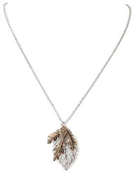 Tri Tone Leaf & Pine Cone Pendant Necklace