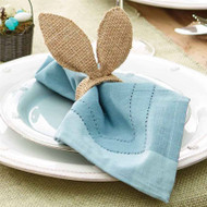 Mud Pie Burlap Bunny Napkin Rings - Set of 4