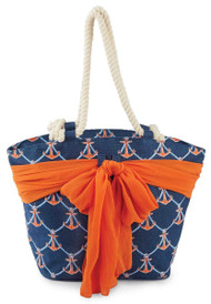 Mud Pie Sarong Along Navy Anchor Tote