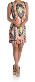 Ladies Araya Navajo Printed Sleeveless Shift Dress (Large)