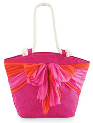 Mud Pie Sarong Along-Flamingo/Pink Stripe Tote