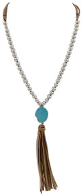 Knotted Pearl and Faux Leather Boho Necklace with Turquoise & Brown Suede