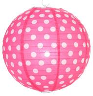 """Fuchsia Polka Dot Lantern - 14"""" - Set of 2"""