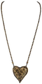 Antique Bronze Ball Chain with Hammered Puff Heart Necklace