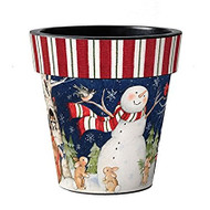 "Studio M Snowman in Scarf 18"" Art Pot Planter"