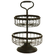 "19"" Round Iron Two Tier Basket"